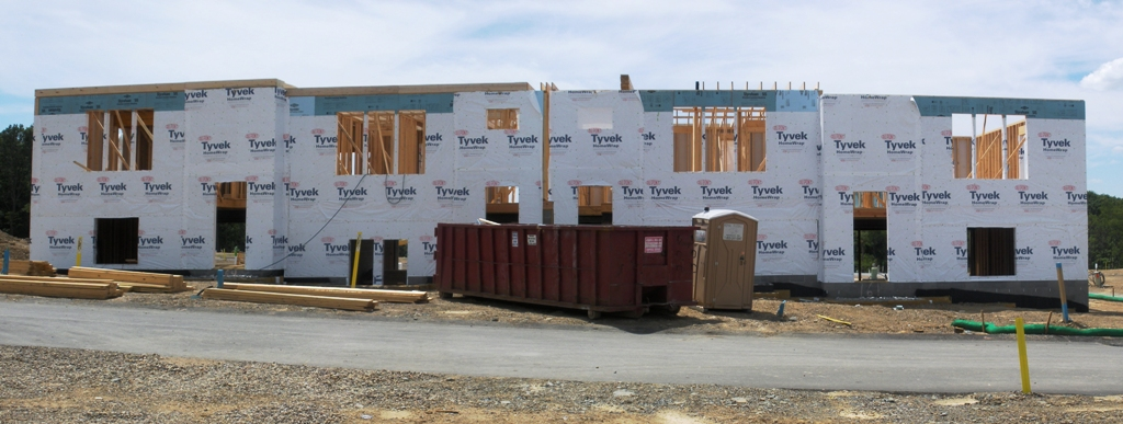 Framing started on first village towne home building new for Heartland homes pittsburgh floor plans